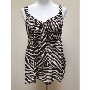 Michael Kors Petite Brown White Zebra Print Top